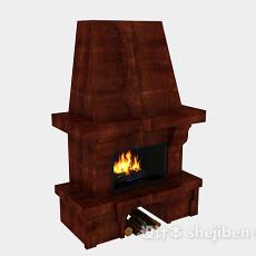 棕色木质壁炉3d模型下载