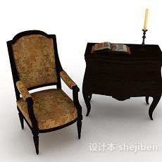 欧式棕色木质家居椅3d模型下载