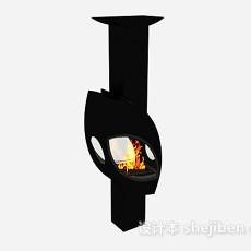 现代黑色简约壁炉3d模型下载