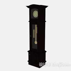 棕色复古座钟3d模型下载