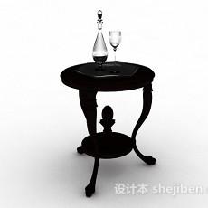 黑色圆形木质小茶几3d模型下载