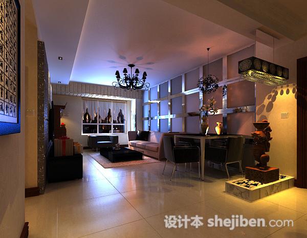现代家居客厅3d模型