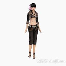 游戏人物女性人体3d模型下载