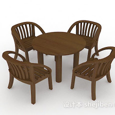 木质棕色桌椅组合3d模型下载