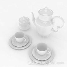 白色简约茶具3d模型下载