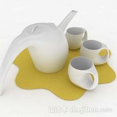个性白色茶具3d模型下载