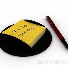 黄色便签3d模型下载