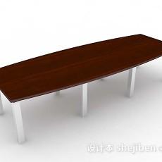 木质长会议桌3d模型下载