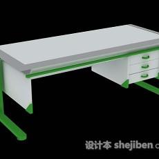 绿色简单办公桌3d模型下载