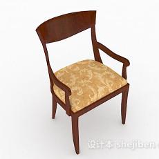 棕色木质家居椅3d模型下载