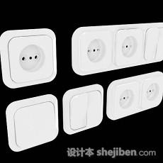 白色家居插座3d模型下载
