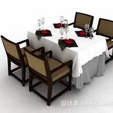 简单餐厅餐桌椅3d模型下载
