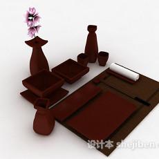 日式木质餐具3d模型下载