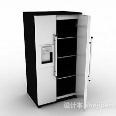 黑色双门电冰箱3d模型下载