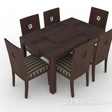 新中式木质棕色桌椅组合3d模型下载