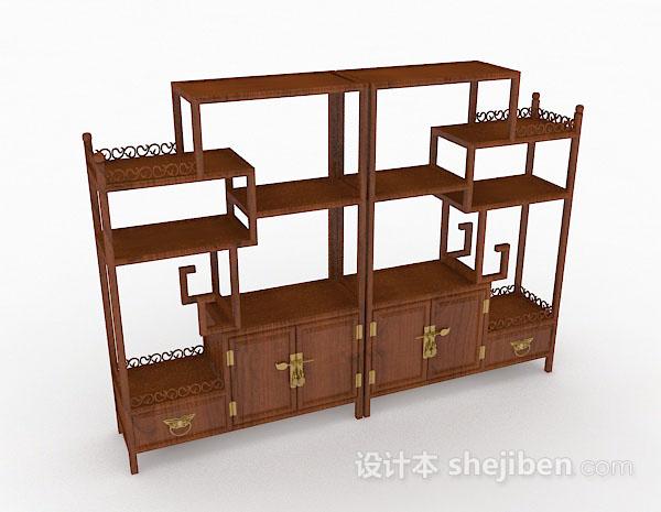 中式棕色木质展示柜