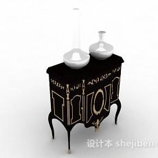 黑色装饰厅柜3d模型下载