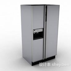 灰色双门电冰箱3d模型下载