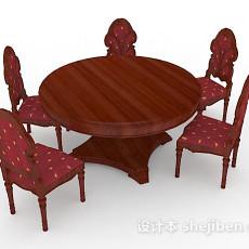 欧式复古红棕色桌椅组合3d模型下载