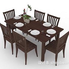 木质棕色餐桌椅组合3d模型下载