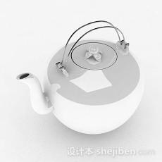白色茶壶3d模型下载
