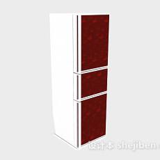 红色三门冰箱3d模型下载