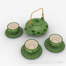 绿色茶具套装3d模型下载
