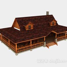 田园木质房屋3d模型下载