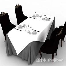 餐厅餐桌椅3d模型下载