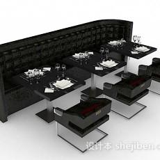 餐厅黑色餐桌椅3d模型下载