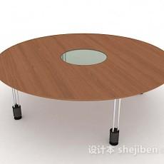 浅棕色木质圆会议桌3d模型下载