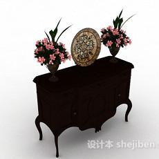 中式棕色装饰厅柜3d模型下载