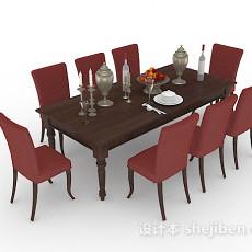 家居简约餐桌椅组合3d模型下载