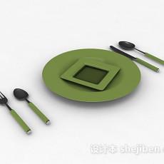 绿色餐具3d模型下载