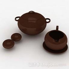 棕色茶具3d模型下载