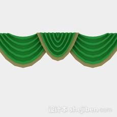绿色窗帘幔3d模型下载