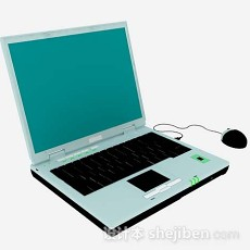 绿色笔记本电脑3d模型下载