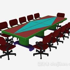 红色会议桌椅3d模型下载