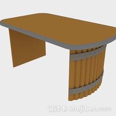 棕色办公桌3d模型下载