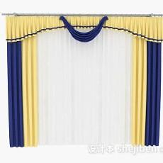 黄蓝色家居窗帘3d模型下载