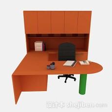 橙色办公桌椅组合3d模型下载