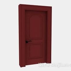 红色木质家居门3d模型下载