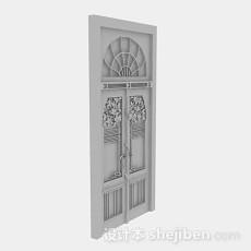灰色木质雕花门3d模型下载