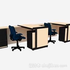 黄色办公桌椅3d模型下载