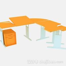 橙色简约办公桌3d模型下载