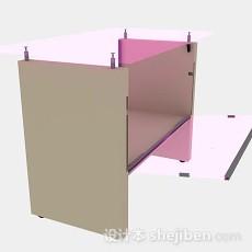 粉色办公桌3d模型下载
