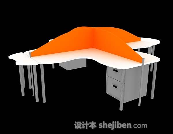 土巴兔cad模型下载_橙色办公桌3d模型下载-设计本3D模型下载