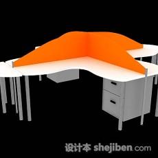 橙色办公桌3d模型下载