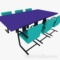 绿色办公会议桌椅3d模型下载
