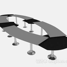 灰色会议桌3d模型下载